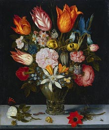 Flowers in a Glass, 1606 by Ambrosius Bosschaert | Painting Reproduction