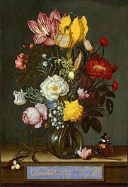 Bouquet of Flowers in a Glass Vase | Ambrosius Bosschaert | Painting Reproduction