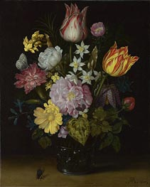 Flowers in a Glass Vase, 1614 by Ambrosius Bosschaert | Painting Reproduction