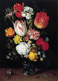 Flowers in a Glass Beaker, undated by Ambrosius Bosschaert | Painting Reproduction
