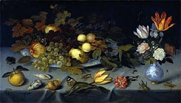 Still Life with Fruit and Flowers, c.1620/21 by Ambrosius Bosschaert | Painting Reproduction