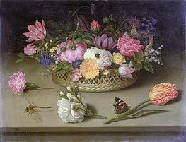 Flower Still Life, 1614 by Ambrosius Bosschaert | Painting Reproduction