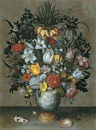 Chinese Vase with Flowers, Shells and Insects, c.1609 by Ambrosius Bosschaert | Painting Reproduction