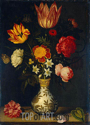 Still Life with Flowers in a Wan-Li Vase, 1619 | Ambrosius Bosschaert | Painting Reproduction