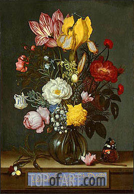 Bouquet of Flowers in a Glass Vase, 1621 | Ambrosius Bosschaert | Painting Reproduction