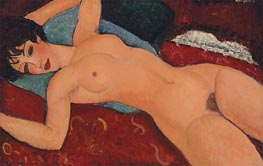 Red Nude (Nude on a Cushion), 1917 by Modigliani | Painting Reproduction