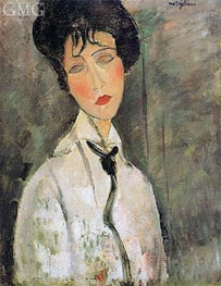 Portrait of a Woman in a Black Tie | Modigliani | Painting Reproduction