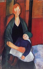 Seated Woman with Child, 1919 by Modigliani | Painting Reproduction