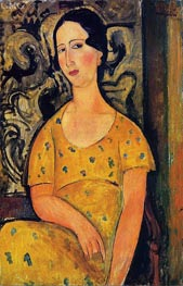 Young Woman in a Yellow Dress (Madame Modot), 1918 by Modigliani | Painting Reproduction