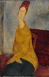 Jeanne Hebuterne with Yellow Sweater, c.1918/19 by Modigliani | Painting Reproduction