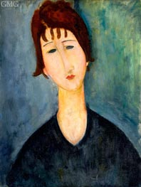 A Woman, c.1917/20 by Modigliani | Painting Reproduction