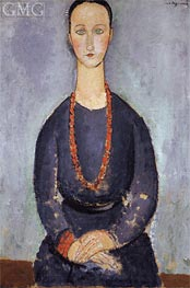 Woman with a Red Necklace, 1918 by Modigliani | Painting Reproduction