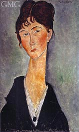 Bust of a Woman with a Necklace, 1918 by Modigliani | Painting Reproduction