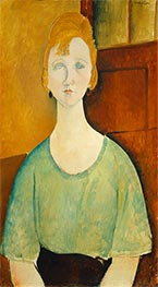 Girl in a Green Blouse, 1917 by Modigliani | Painting Reproduction