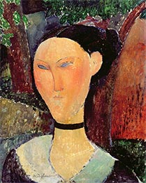 Woman with Velvet Ribbon | Modigliani | Painting Reproduction