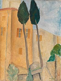 Cypresses and Houses at Cagnes, 1919 by Modigliani | Painting Reproduction