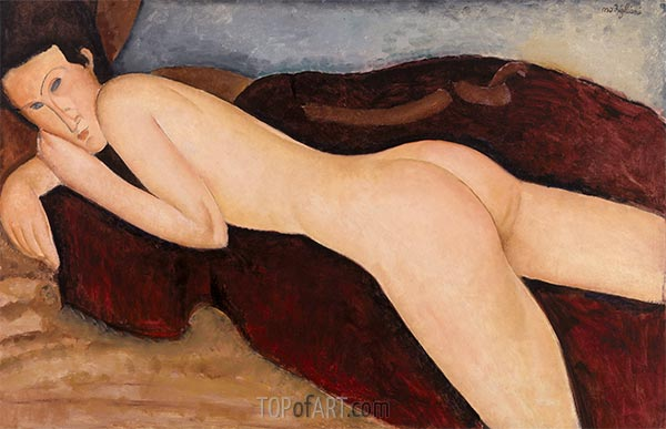Reclining Nude from the Back (Nu couche de dos), 1917 | Modigliani | Painting Reproduction