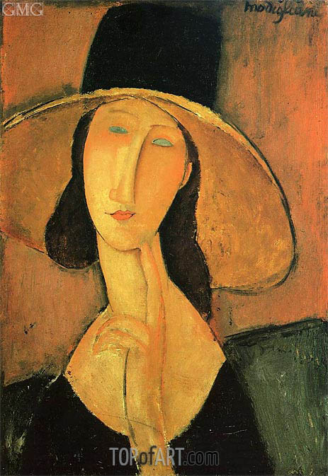 Jeanne Hebuterne in a Large Hat, 1918 | Modigliani | Painting Reproduction