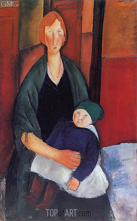 Seated Woman with Child, 1919 | Modigliani | Painting Reproduction