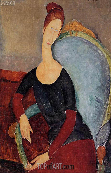 Portrait of Jeanne Hebuterne Seated in an Armchair, 1918 | Modigliani | Painting Reproduction