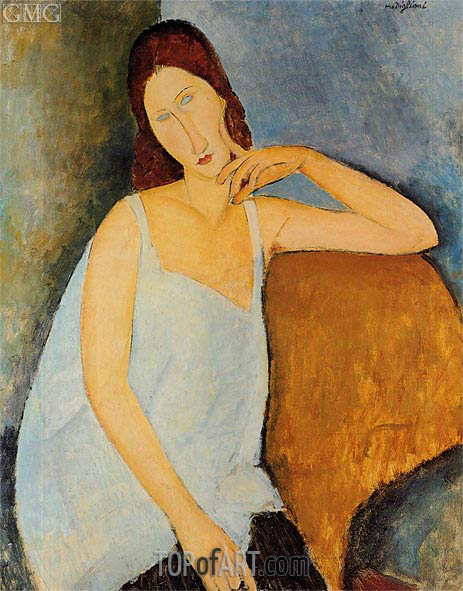 Portrait of Jeanne Hebuterne, Sitting, 1918 | Modigliani | Painting Reproduction