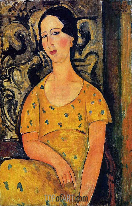 Young Woman in a Yellow Dress (Madame Modot), 1918 | Modigliani | Painting Reproduction
