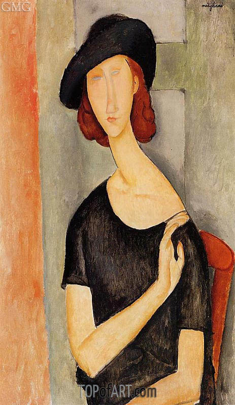 Jeanne Hebuterne in a Hat, 1919 | Modigliani | Painting Reproduction