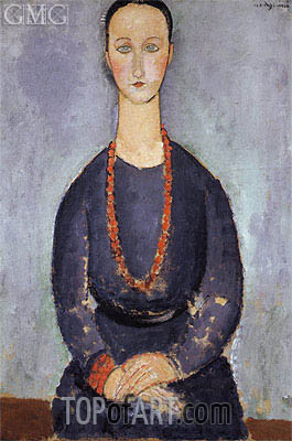 Woman with a Red Necklace, 1918 | Modigliani | Painting Reproduction