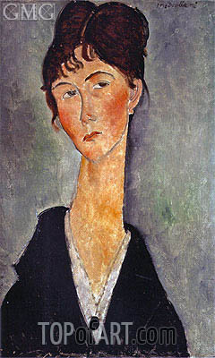 Bust of a Woman with a Necklace, 1918 | Modigliani | Gemälde Reproduktion