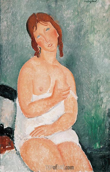 Young Woman in a Shirt, 1918 | Modigliani | Painting Reproduction
