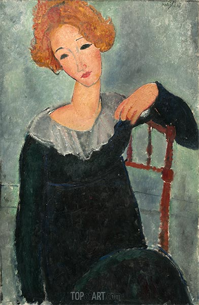 Woman with Red Hair, 1917 | Modigliani | Painting Reproduction
