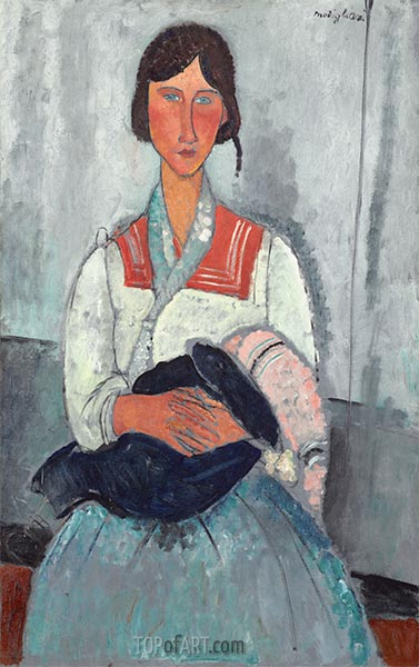 Gypsy Woman with Baby, 1919 | Modigliani | Painting Reproduction