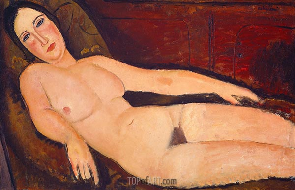 Nude on a Divan, 1918 | Modigliani | Painting Reproduction