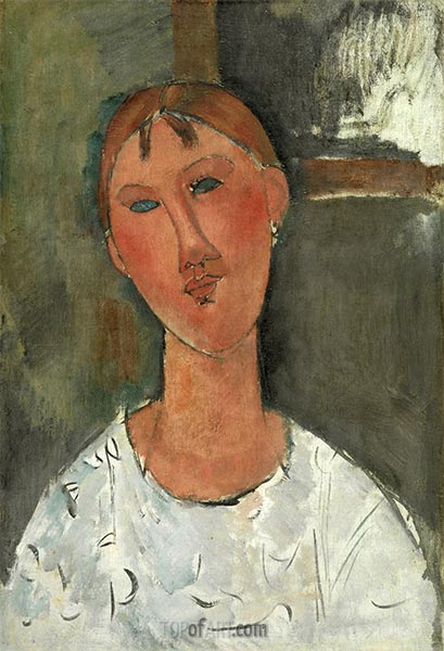 Girl in White Shirt, c.1915 | Modigliani | Painting Reproduction