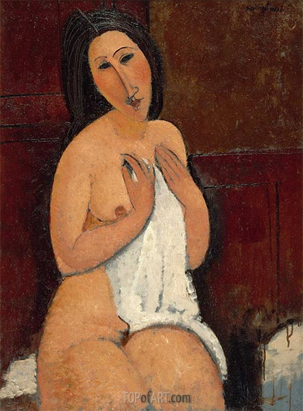Seated Nude with a Shirt, 1917 | Modigliani | Painting Reproduction