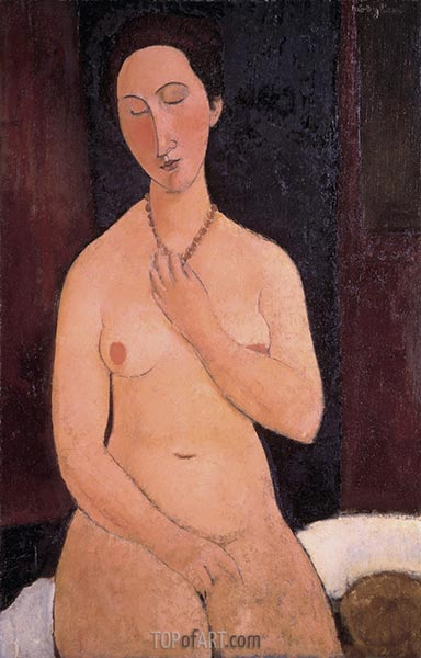 Sitting Nude with Necklace, 1917 | Modigliani | Painting Reproduction