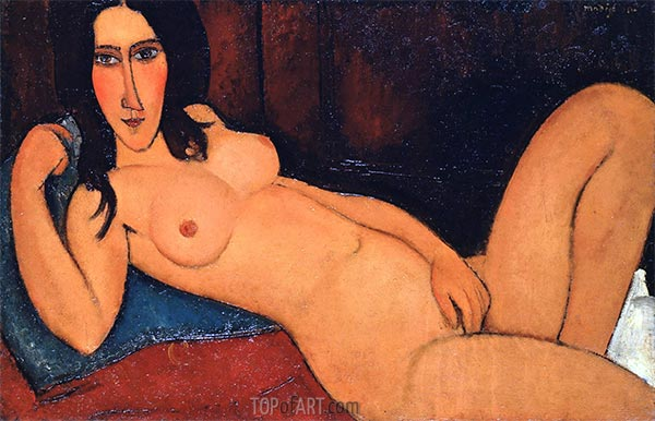 Reclining Nude with Loose Hair, 1917 | Modigliani | Painting Reproduction