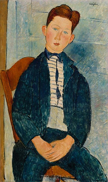 Boy in a Striped Sweater, 1918 | Modigliani | Painting Reproduction