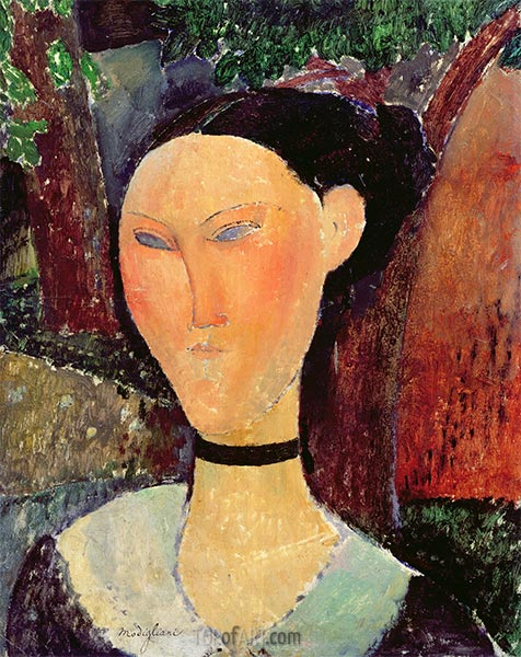 Woman with Velvet Ribbon, 1915 | Modigliani | Painting Reproduction