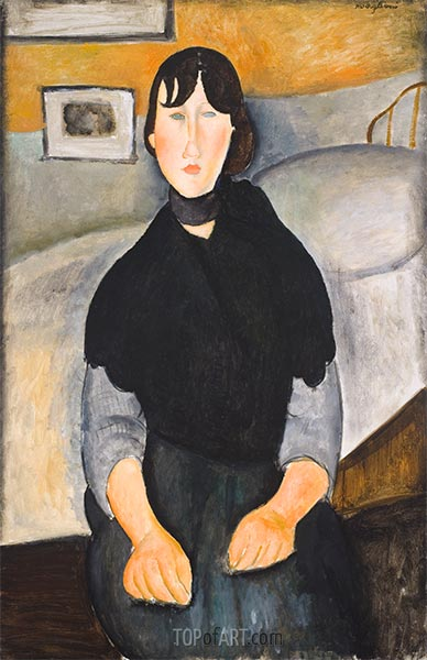 Young Woman of the People, 1918 | Modigliani | Painting Reproduction
