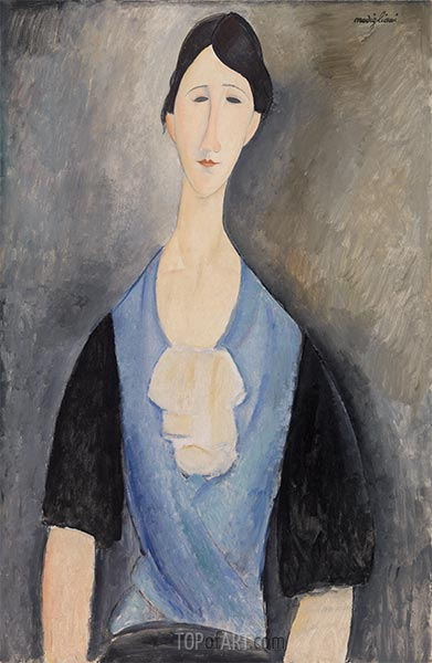 Young Woman in Blue, 1919 | Modigliani | Painting Reproduction
