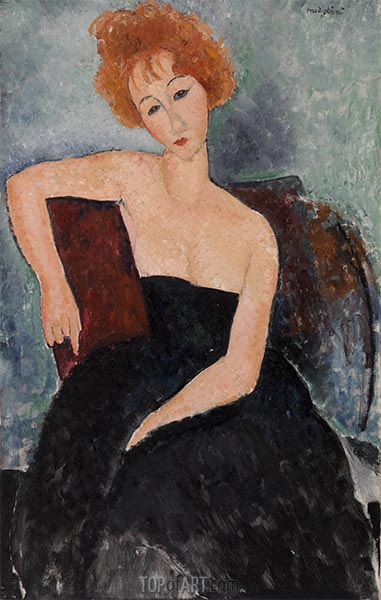 Redheaded Girl in Evening Dress, 1918 | Modigliani | Painting Reproduction