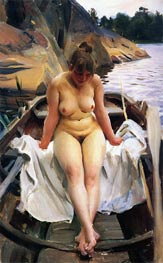 In Werner's Rowing Boat, 1917 by Anders Zorn | Painting Reproduction