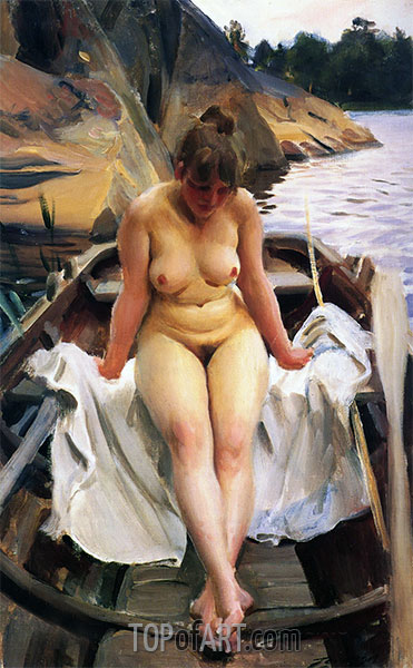 In Werners Ruderboot, 1917 | Anders Zorn | Gemälde Reproduktion