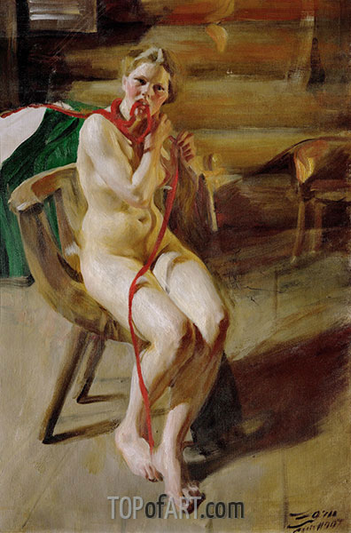 Nude Braiding her Hair, 1907 | Anders Zorn | Painting Reproduction