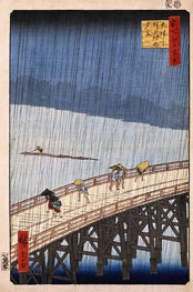 Sudden Shower over Shin-Ohashi Bridge and Atake, 1857 by Ando Hiroshige | Painting Reproduction
