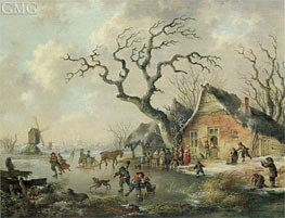 A Winter Landscape with Figures Skating on a Frozen Waterway, 1799 von Andries Vermeulen | Gemälde-Reproduktion
