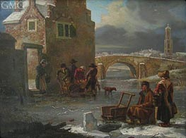A Winter Landscape, undated by Andries Vermeulen | Painting Reproduction