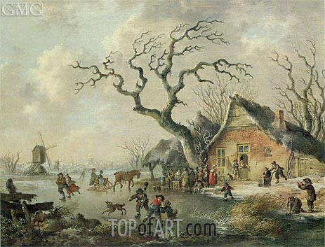 A Winter Landscape with Figures Skating on a Frozen Waterway, 1799 | Andries Vermeulen | Painting Reproduction