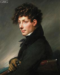 Man's Portrait in Hunter | Girodet de Roussy-Trioson | Painting Reproduction